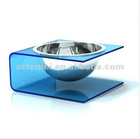 light blue acrylic pet dining table with single bowl