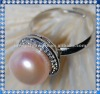 12mm button shape peach color real freshwater pearl rings