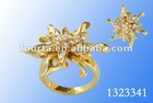 Gorgeous Flower Top Sale Ring Elegant and Noble Ladies gold plated ring jewelry