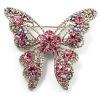 Brooch, Dazzling Crystal Butterfly Brooch (Silver Tone)