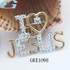Popular Gesus-love sterling silver lapel pin with CZ stones
