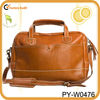 top grain genuine leather briefcase with seams in contrasting color