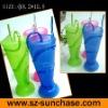 Plastic straw cup