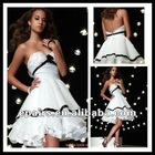 CD147 Simple Elegant Strapless Open Back Ruffles Hemline Short Cocktail Dress