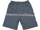 100% polyester peach skin fabric,men's shorts with elasticated waist,side pocket with logo.