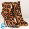 2011 Name Brand Hot sale Horse Hair Leopard Pattern High Heel Middle Ladies Leather Boots