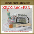20pcs Heat Direct BGA Stencil+Jig+Solder Ball+Solder Flux+BGA Accessories For XBOX360 and PS3 Reballing Kit