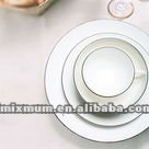 High whiteness porcelain plate with silver rim