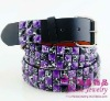 Purple & Black Pyramid Studded Snap on Belt