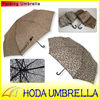 fashion leopard pattern folding umbrella with crook leather handle