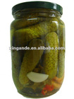 canned gherkin cucumber in glass jar from fresh crop