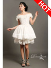 Romantic Sweetheart Off Shoulder Lace Tiered Corset Short Romantic Ivory Lace Wedding Dress With Sleeves Ruched 2012