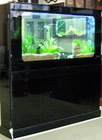 decorative tempered glass fish tank with black wood cabinet