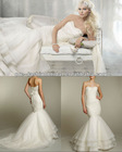 Strapless Sweetheart Ruffle Bodice Mermaid Shape Wedding Dress Organza Ruffles Skirt