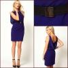 Endearing bateau mini length blue V-back bodice pleating fashion mature women evening dress