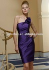 Wisteria Floral One Shoulder Silky Taffeta Cocktail Length Bridesmaid Dress
