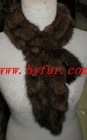 FY-WB017 Knitted Mink Fur Scarf,Mink knitted Ruffle scarf