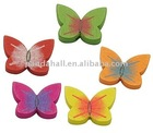 Wood Beads, Lead Free, Butterfly, Dyed, Multicolor, about 20x15x4mm, hole: 2mm(WOOD-15X20-M-1)
