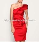 bright big red one shoulder falbala pencil evening dress