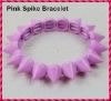 2012 Hot Sale Pink Punk Style Spike Hedgehog Rivet Bracelet, Fashion Stretch Adjustable Rivet Spike Bracelet