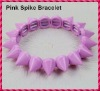 2012 Hot Sale Pink Punk Style Spike Hedgehog Rivet Bracelet, Fashion Stretch Adjustable Rivet Spike Bracelet
