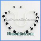 Fashion Shamballa Necklace 10mm Clay Black Rhinestone Disco Beaded Jewelry 16Colors China Wholesale PSN14-13