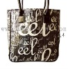 black canvas shopping bag with sequin