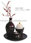 Wooden Deco. Set,vase,T-light holder,ball candle holder,plate