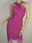 Pink Cross-over Bandage Dresses