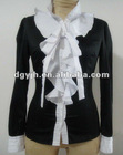 2012 Lady`s Fashion black blouse with white falbala2012 Lady`s Fashion Black Blouse With White Falbala T003