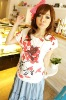 BF8340 printed lady casual and simple T-shirt (red)