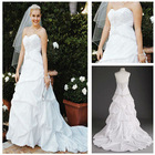 MWD0026 Fashion Forward OEM Free Shipping Unique Hot Sale Strapless Sweetheart Taffeta Pick-up Style 2013 New Wedding Dress