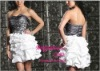 Black with White Taffeta Applique Ladies night dress