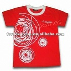 Kids Red T-shirts, with Printing, Made of Cotton, Available in Various Colors and Sizes