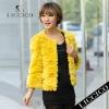 2012 Hot sale women Genuine Rex Rabbit Jacket Yellow Fur Coat #051-A-1