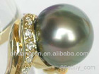 Rare 11mm Tahitian pearl 14k gold diamond ring US size 8
