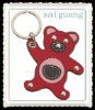 customized bear leather key chain/key ring/keychain/keyring