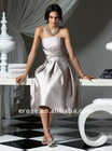 Sleeveless Tea Length Silver Bridesmaid Dress Pictures With Sash BD-C222
