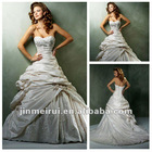Best Sell Sweetheart Beading Ruffle Conservative Taffeta Corset Wedding Dresses