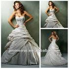 Best Sell Sweetheart Beading Ruffle Conservative Taffeta Corset Wedding Dresses