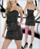 Mini Sexy Satin With Sequins Cheap Black Dress