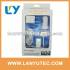 5 in 1 travel charger for iphone Car charger USB Cable for Apple iPod iPhone 4S 4G 3GS 3G Touch