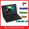 7 inch Android 4.0 Netbook 1.2GHz CPU 512M/4G WiFi HDMI Camera (5 colors)