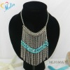 trendy chains necklace with turquoise beads ML0186