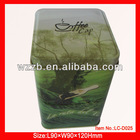 cute and square green tea tin box;chinese tea tin box