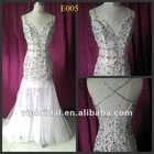 white v-neck amazing beaded sexy open back real photos heavy beaded evening dresses