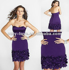 2012 sexy short strapless open-back handmade flower party cocktail dresses OLC081