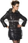 Women's Stylish Slim fit Lapel Collar Zip-up Single-breasted Mid-length Hoodie Down Jacket