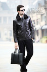 AFERS KC21018 fashion casual high-quality sheep leather jacket Mink lining Mandarin collar Sheep Leather Men's jacket