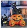 Funny Halloween pumpink with balck cat cartoon